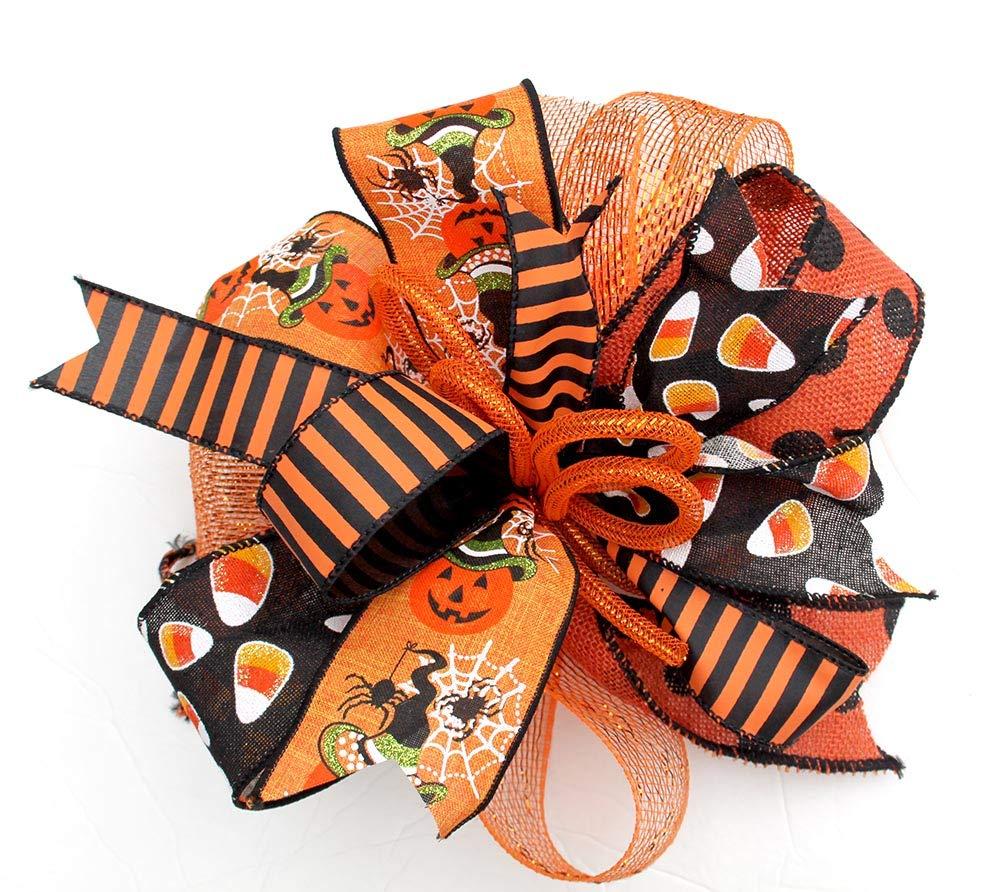 Trick or Treat Halloween Bow 12 Halloween Wreath Bow Halloween Lantern Bow Black White Halloween Wreath Bow Skulls Halloween Bow