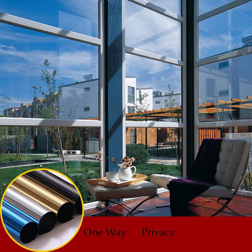12x39inch Protection De Solaire Film Fenetre Sens Unique Intimit/é Film Miroir Occultant Anti UV Film Vitre pour Balcon Maison Autocollant De Fen/être-Bleu et argent-30x100cm