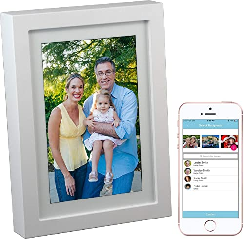 PhotoSpring 8 16GB 8-inch WiFi Cloud Digital Picture Frame – Battery, Touch-Screen, Plays Video and Photo Slideshows, HD IPS Display, iPhone Android app White – 15,000 Photos