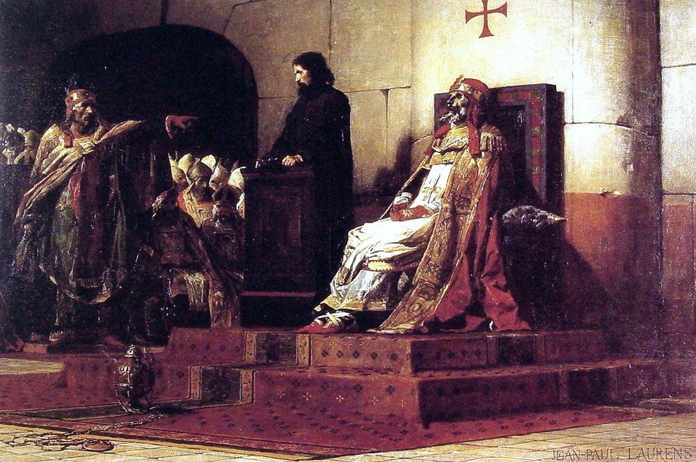 Jean-Paul Laurens Le Pape Formose et Etienne VII - 18'' x 27'' 100% Hand Painted Oil Painting Reproduction