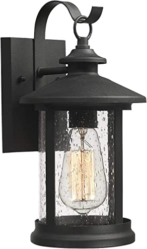 Zeyu 1-Light Exterior Wall Lantern Sconce, Outdoor Wall Mount Light Fixture in Black Finish with Seeded Glass Shade, 20070B1