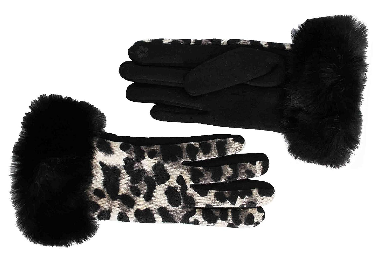 1d1ad44fc9bb FERETI Gris Gants Femme Léopard Panther Fourrure Noir Tactile Hiver  Tactiles Chat Sauvage  Amazon.fr  Vêtements et accessoires