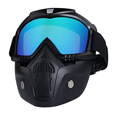 Motorcycle Helmet Riding Goggles Glasses With Removable Face Mask,Detachable Fog-proof Warm Goggles Mouth Filter Adjustable Non-slip Strap Vintage Bullet Fight Motocross (colorful): Automotive [5Bkhe2011877]