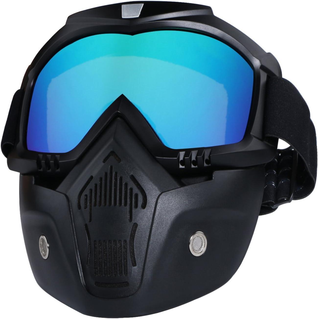 Casco de motocicleta con gafas extraíbles, lentes antivaho, filtro en la boca, correa antideslizante ajustable, estilo vintage, colorful