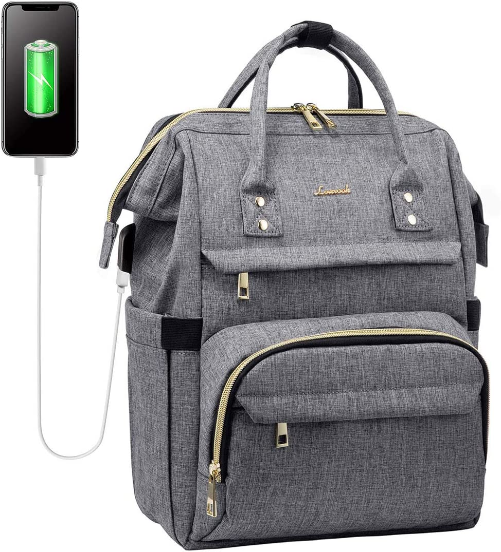 Laptop Backpack Women Teacher Backpack Nurse Bag 15.6 Inch Womens Work Bag Purse Water-Resistant Business Travel Backpack with USB Charging Port, School Backpack Bookbag (Grey)