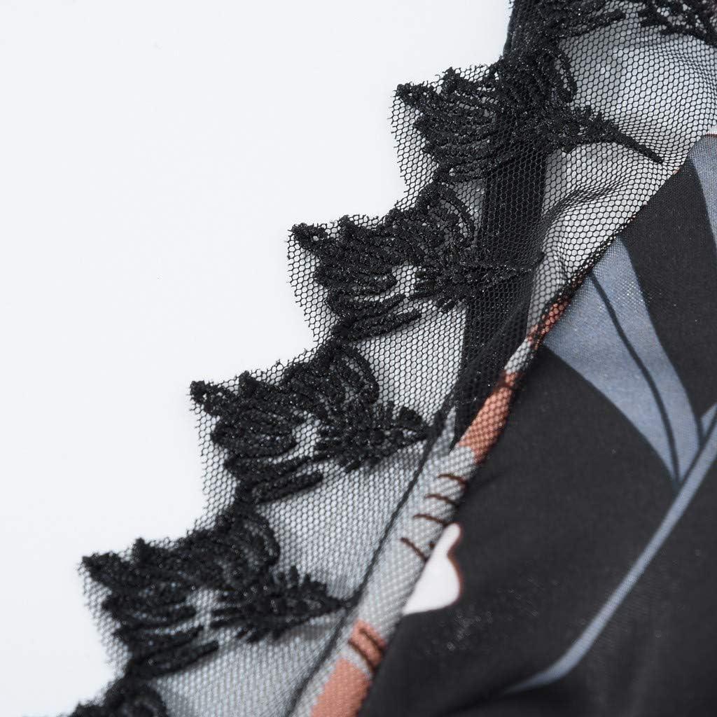 ALOVEMO Nightdress for Women,Lace Lingerie Sleepwear Floral V-Neck Full Slip Babydoll Nightgown Dress