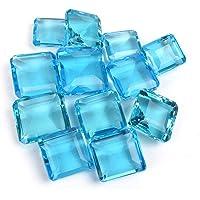 Gemhub Lotto all'Ingrosso di 6 Pezzi 500 Ct Scintillanti Topazio Blu Svizzero sfaccettato Pietra preziosa Forma Quadrata Gioielli Che Fanno Gemme sciolte