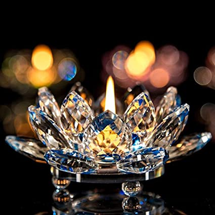 Amazon.com  JPJ(TM) New❤Lotus Crystal❤7 Colors Hot Fashion Crystal Glass  Lotus Flower Candle Tea Light Holder Buddhist Candlestick (D)  Home    Kitchen ca6a8fc37b2