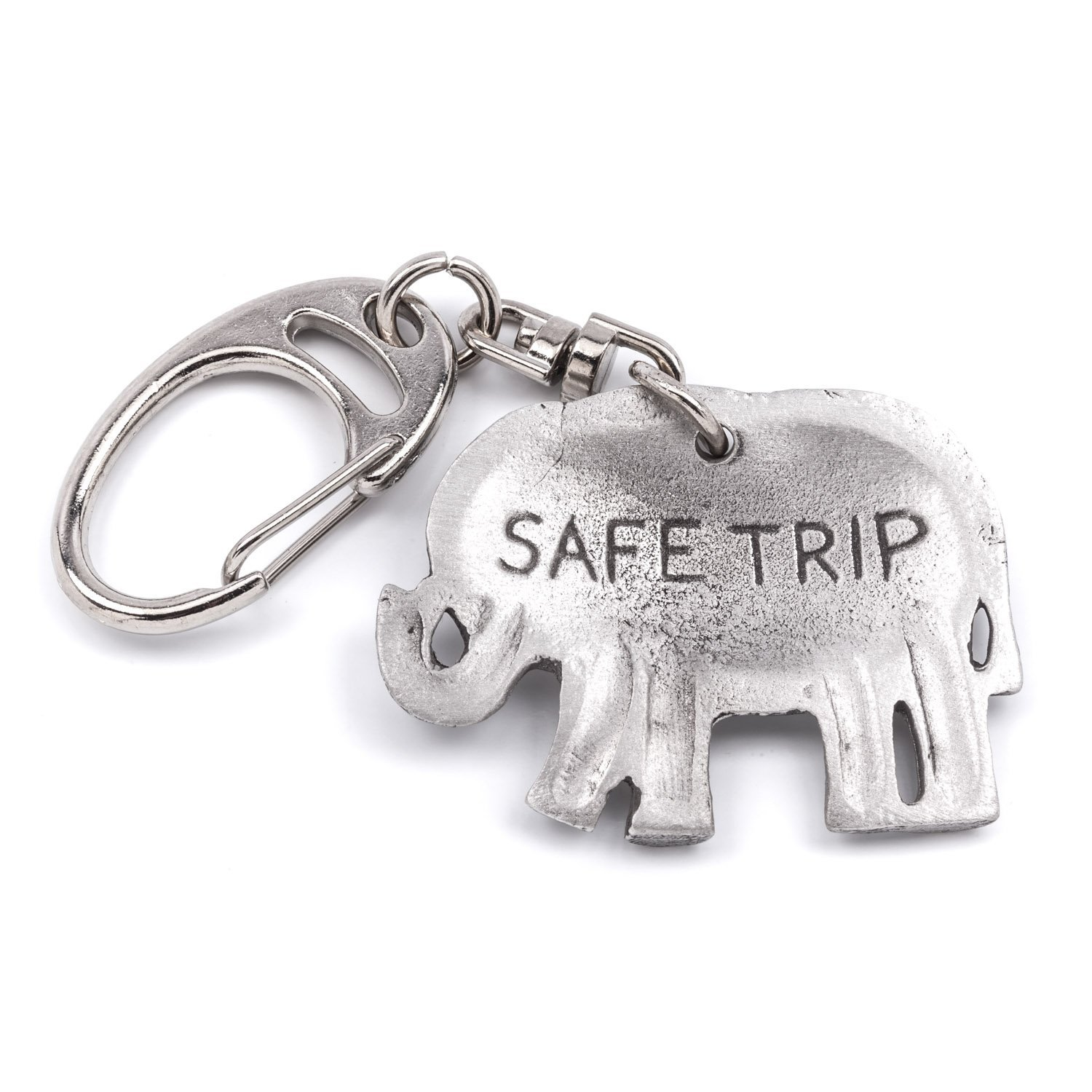 Elephant  Pewter Keyring present in Gift in Pouch Key Ring WC