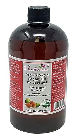 Organic Verdana USDA Certified Organic Argan Oil, Unrefined, Deodorized, Cold Pressed, 16 Fl. Oz. – Deepthi Organics