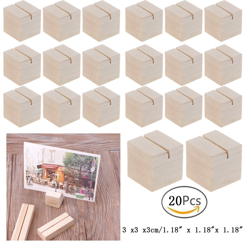 Hacloser Natural Wood Place Card Holders Memo Clips Photo Holder Clamps Stand Desktop Card Crafts Wedding Home Birthday Party Decorations (20, S:3 x 3 x 3cm/1.18'' x 1.18''x 1.18'') by Hacloser (Image #1)