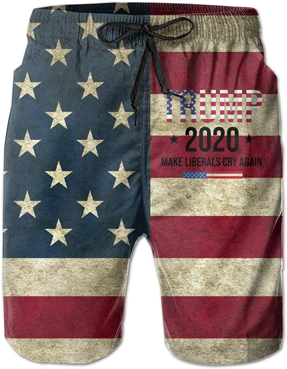 2020 Trump Make Liberals Cry Again Mens Athletic Classic Swim Beach Shorts with Pockets