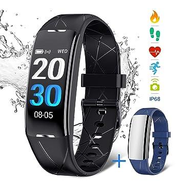 Pulsera Deportiva NASUM , Reloj Inteligente IP68 Pulsera Inteligente bluetooth Resistente al Agua con Monitor de Ritmo Cardíaco y de Sueño, Reloj de ...