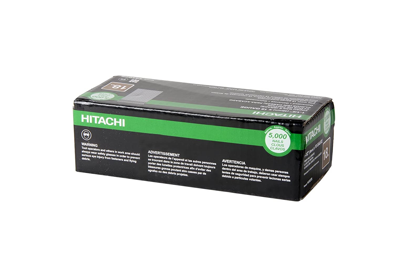 Hitachi 14107S 1 1 2 x 18 GA Finish Nail Electro Galvanized 5000 Count