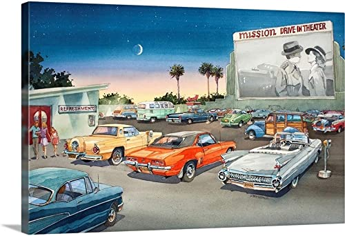 Mission Drive-in Canvas Wall Art Print