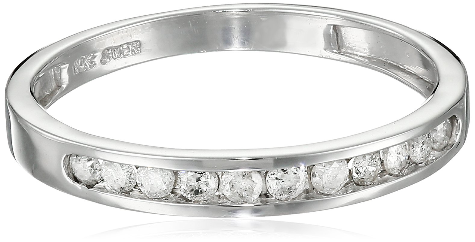 10K White Gold Round Diamond Stack Ring (1/4 cttw), Size 7 by Amazon Collection