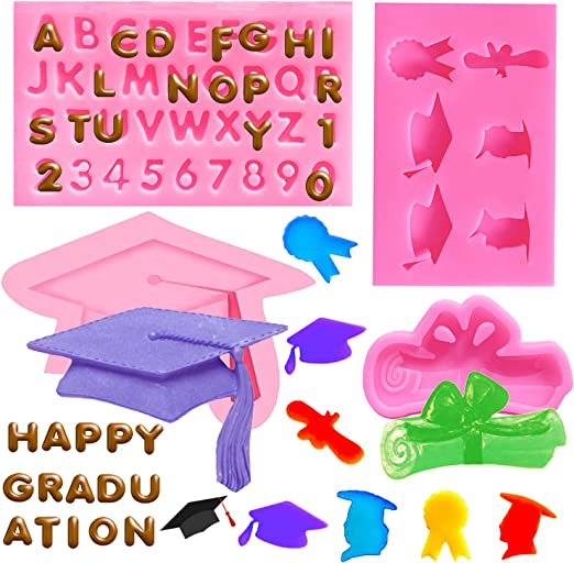 Doumeny 4Pcs Graduation Silicone Mold, Graduation Cap Baking Mold Diploma Graduate Fondant Mold Certificate Candy Mold Doctorial Hat Chocolate Mold Letters Molds and Numbers Molds for Graduation Decor