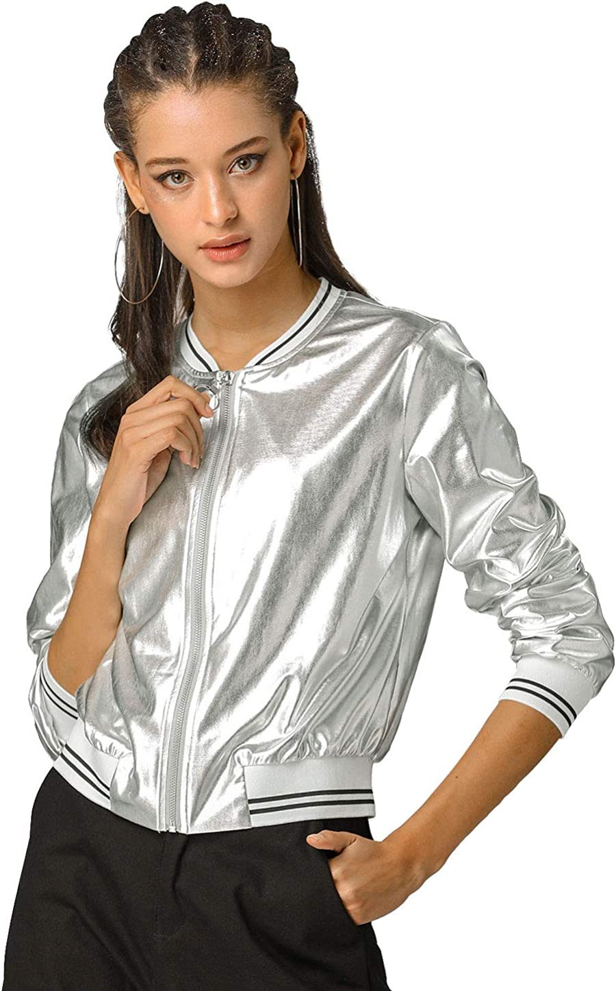 Allegra K Damen Langarm Stehkragen Holographic Streifen Bomberjacke Jacke