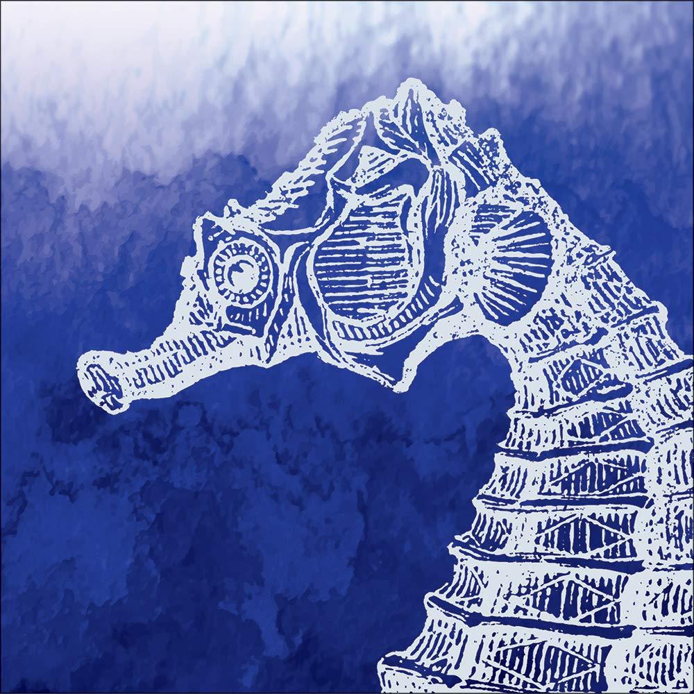 クラブパックof 288ブルーとホワイトMarine Seahorseテーマ3本使い捨て飲料ナプキン5