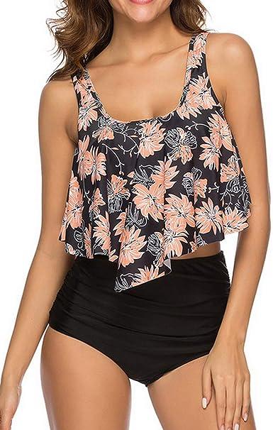Amazon.com: Traje de baño de cintura alta para mujer, traje ...
