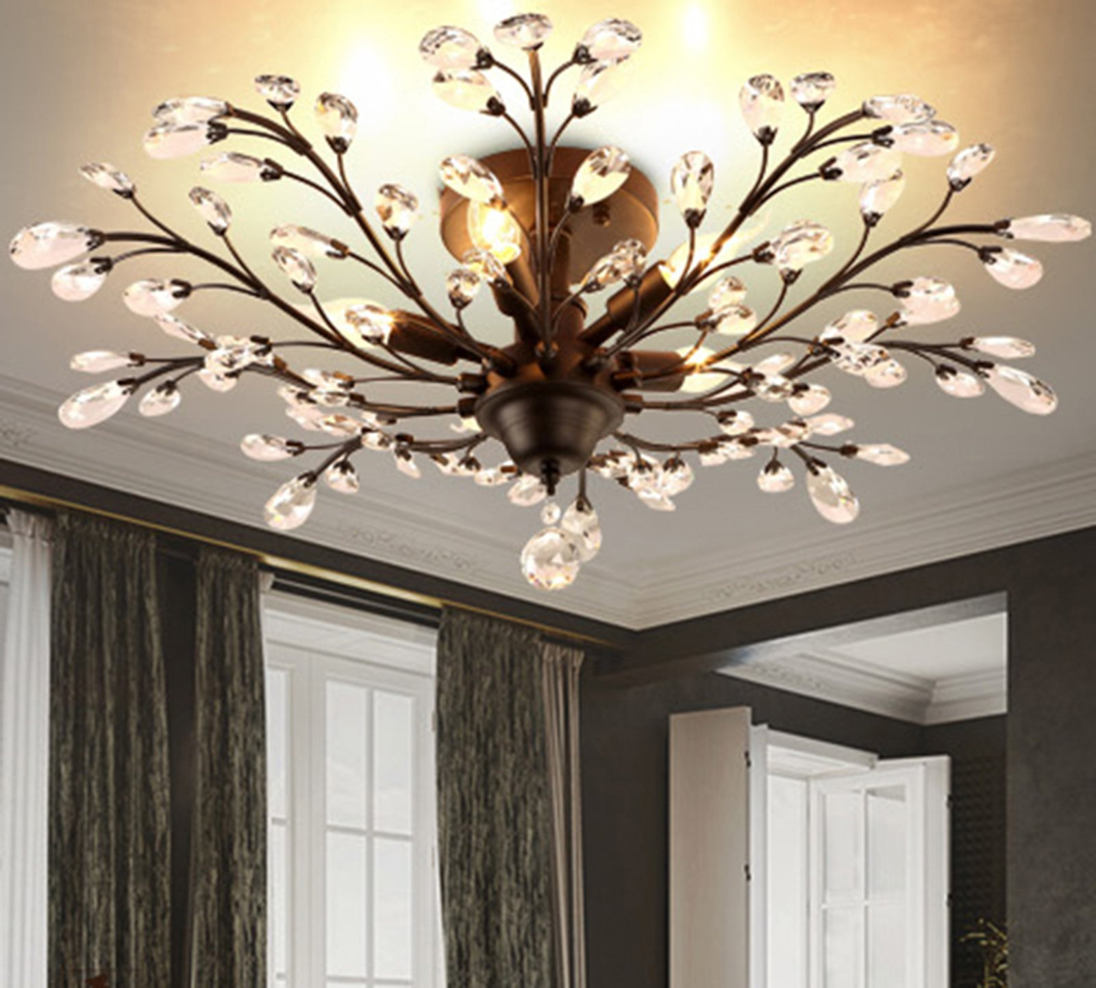 SEOL-LIGHT Vintage Large Crystal Branches Chandeliers Black Ceiling Light Flush Mounted Fixture with 5 Light 200W Large Size by SEOL LIGHT (Image #5)