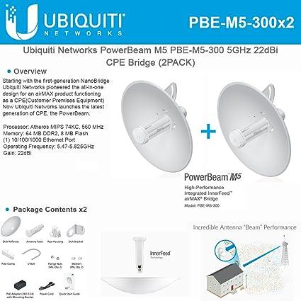4569e07097cde Ubiquiti PBE-M5-300 (2-Pack)PowerBeam M5 22dBi AIRMAX Bridge 300mm Outdoor  5GHz
