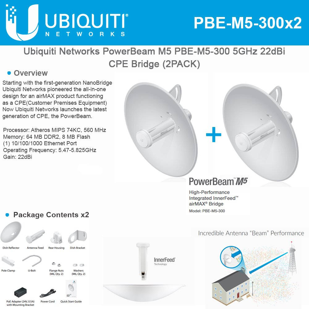 Ubiquiti PBE-M5-300 (2-Pack)PowerBeam M5 22dBi AIRMAX Bridge 300mm Outdoor 5GHz by Ubiquiti Networks