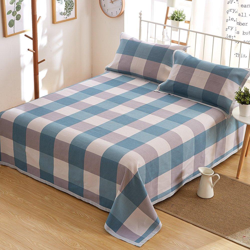 Oasis Hemp Bedding British Style Thickening Bedding Sheet Set with Natural Pattern 55% Hemp 45% Organic Cotton 7667 - Dream Blue Plaid