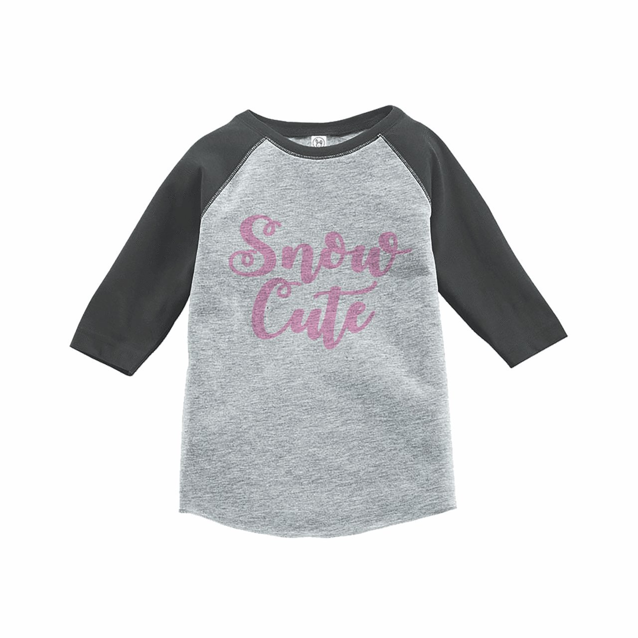 7 ate 9 Apparel Girls Snow Cute Winter Grey Raglan Tee
