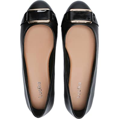 shop best sellers search for clearance latest selection Luoika Women's Wide Width Flat Shoes - Comfortable Slip On Round Toe Faux  Leather Ballet Flats.