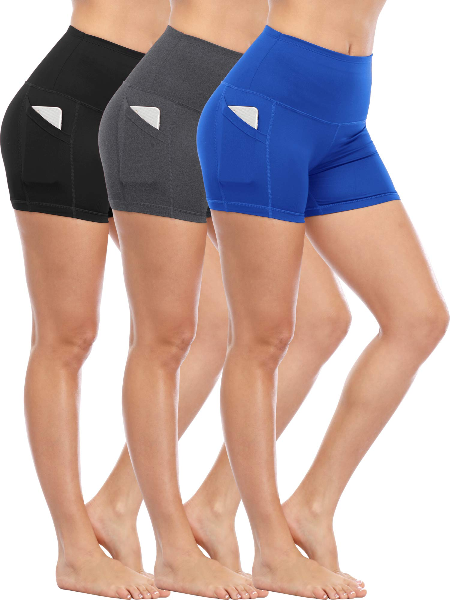 Cadmus Women's Tummy Control Workout Running Short Out Pocket,3 Pack,1016,Black & Grey & Blue,Medium by Cadmus