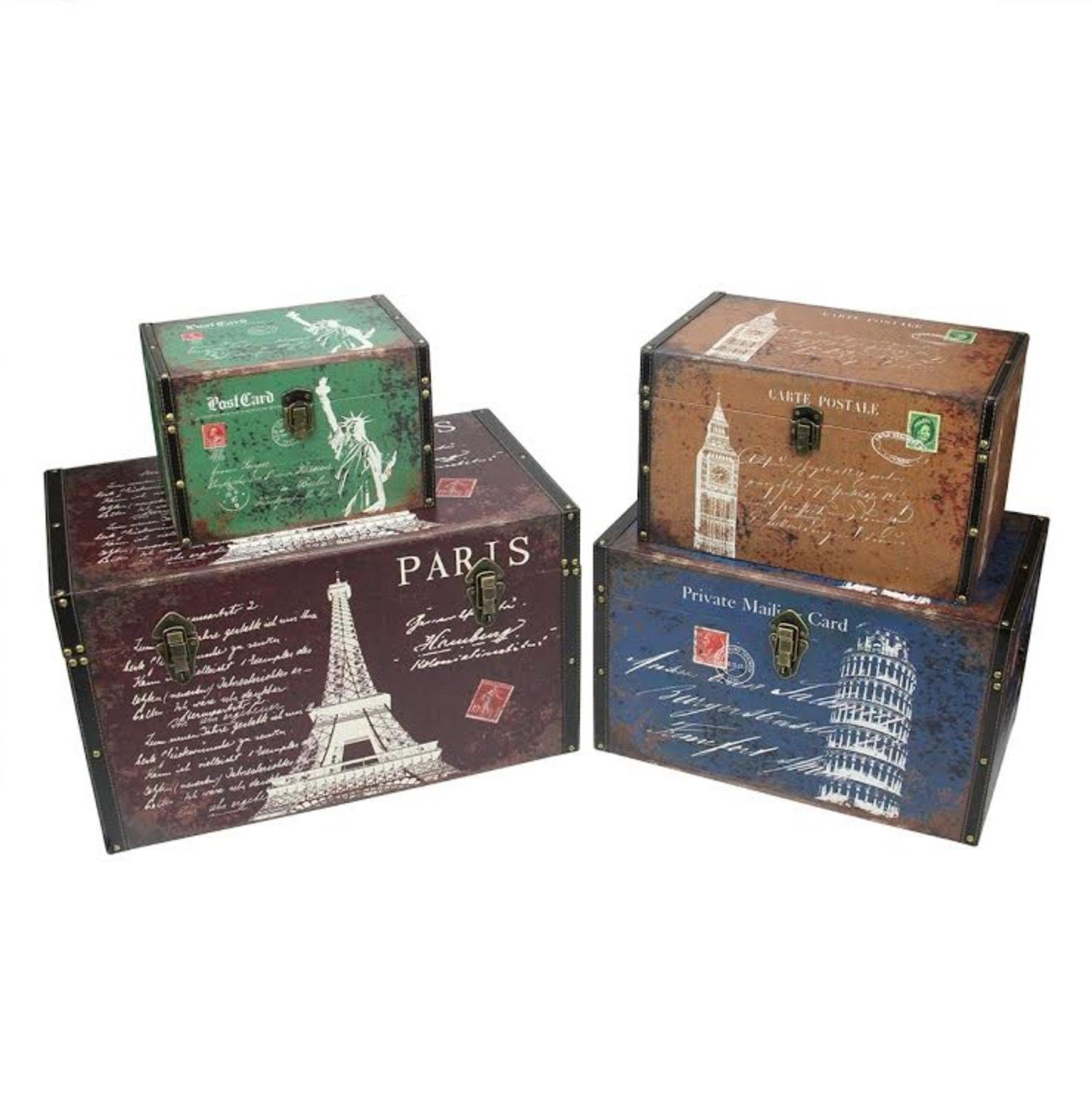 Northlight Set of 4 Vintage-Style Travel Themed Decorative Wooden Storage Boxes, 23.5'', Multicolored