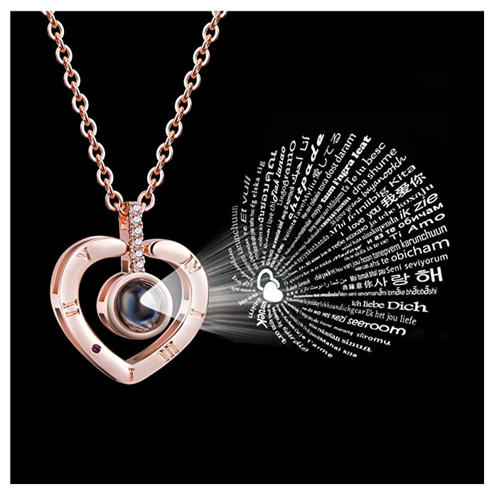 Firsteel Memory of Love Necklace 100 Languages I Love You Necklace Women Jewelry