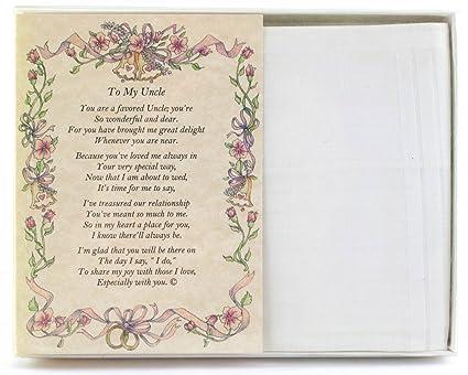 Wedding Handkerchief Poetry Hankie For Bride S Uncle White Wedding Keepsake Beautiful Poem Long Lasting Memento For The Bride S Uncle Includes