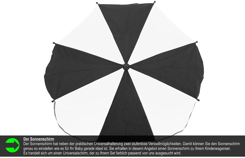 Chilly Kids Matrix 2 poussette combin/ée Set parasol, si/ège auto /& adaptateurs, habillage pluie, moustiquaire, roues pivotantes 56 noir /& blanc /ét/é