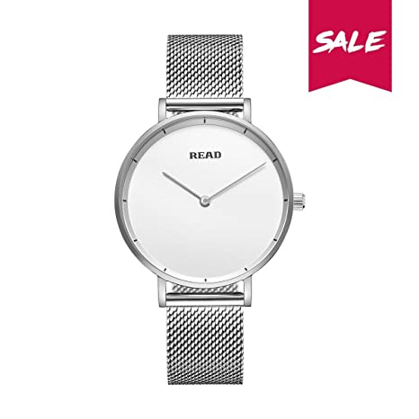 Amazon.com: New READ Women Quartz Watches with Mesh Steel Band Waterproof Wristwatch Best Valentines Day Gift for her R6005 (Silver White): Health ...