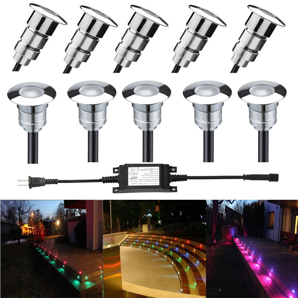 FVTLED LED Step Light Φ0.94'' Low Voltage Outdoor LED Deck lights Garden Mall Yard Decoration Lamps Patio Recessed Stair Landscape Pathway In-ground RGB LED Step Lighting, Pack of 10