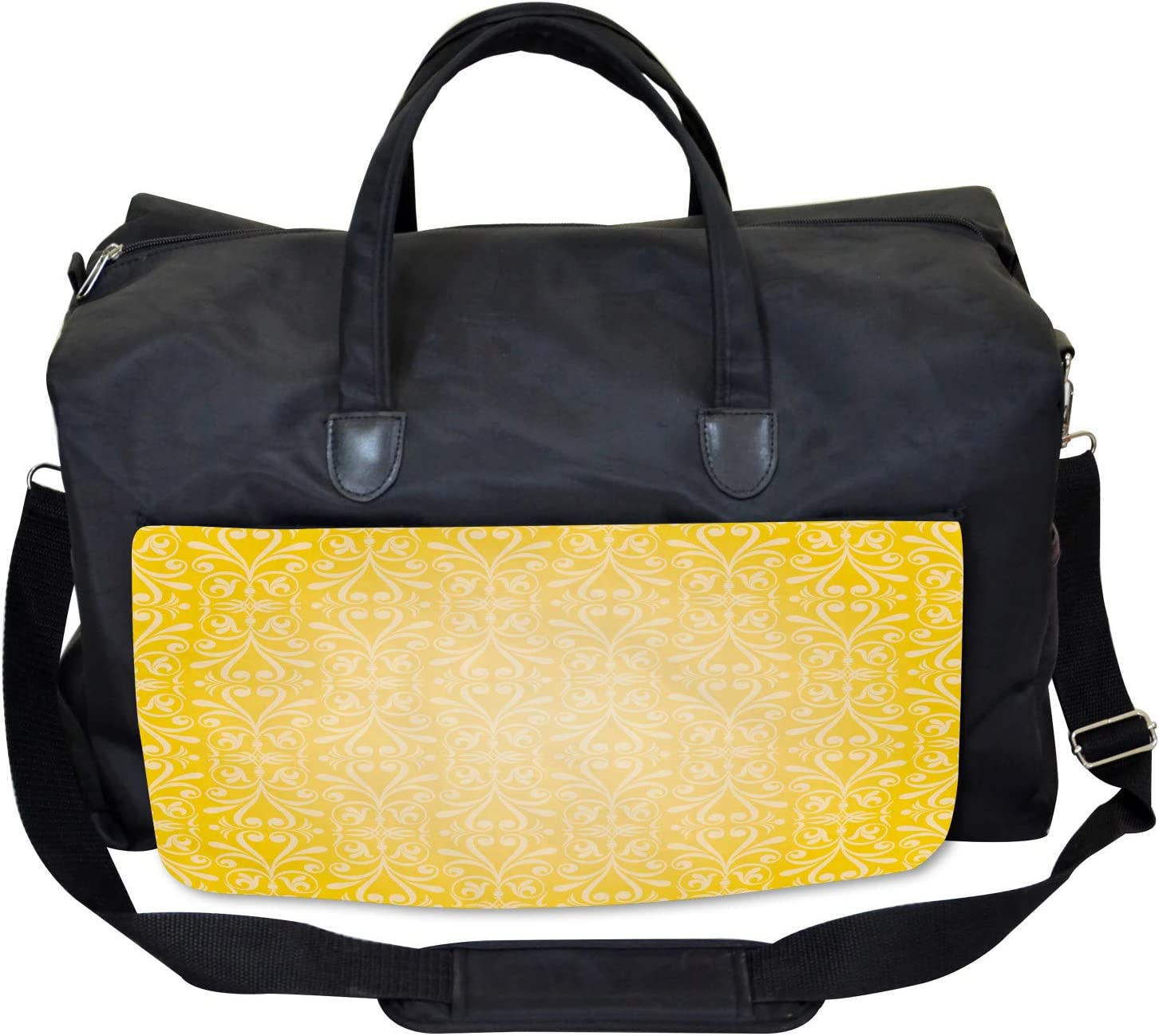 Ambesonne Yellow Gym Bag Floral Victorian Retro Large Weekender Carry-on
