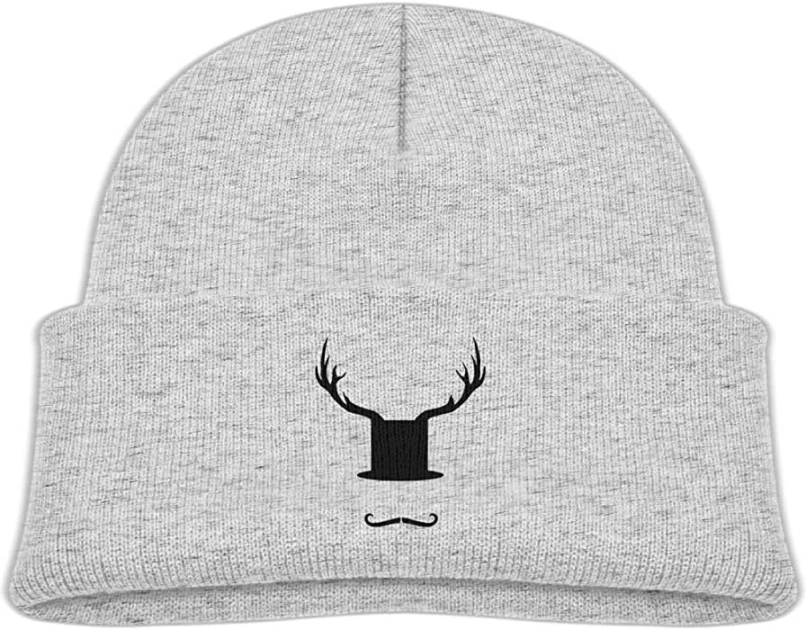 56f18c2c888 Amazon.com  Qiop nee Baby Beanie Hat Soft Knit Cap Funny Hat Beard and Moose  Antlers Boy Girls  Clothing
