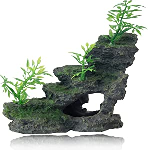 FEDOUR Aquarium Mountain View Stone Ornament, Moss Tree Rock Cave Landscape Artificial Fish Tank Decoration, with 6pcs Small Plants
