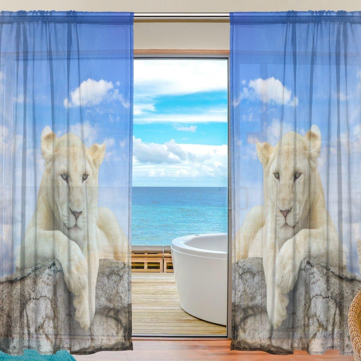 FFY Go Sheer Voile Fenster Vorhang Funny Tiger Mountain bedrucktes Weiches Material f/ür Schlafzimmer Wohnzimmer K/üche Decor Home T/ür Dekoration 2/Felder 198,1/x 139,7/cm