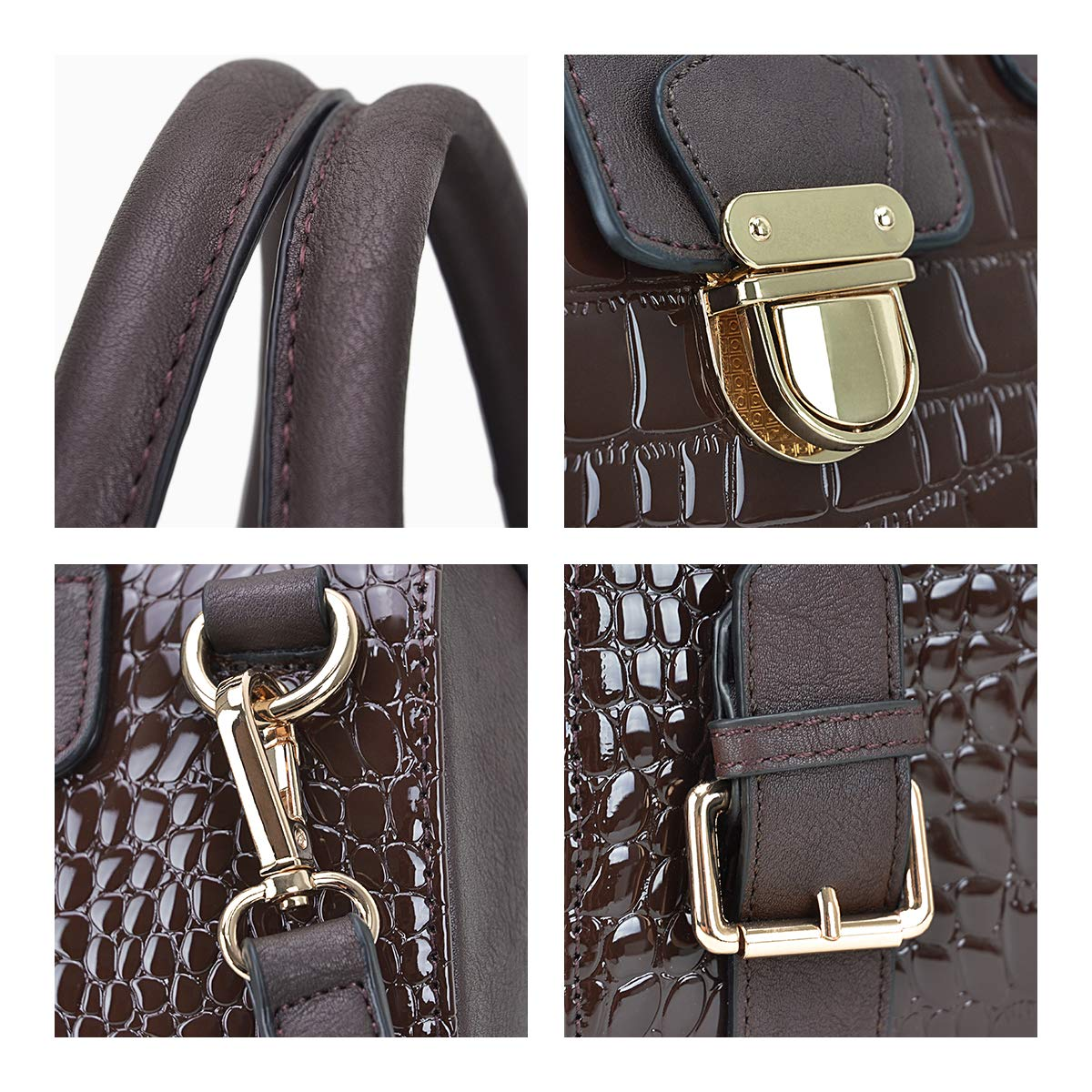 Dasein Women Barrel Handbags Purses Fashion Satchel Bags Top Handle Shoulder Bags Vegan Leather Tote Bags by Dasein (Image #4)