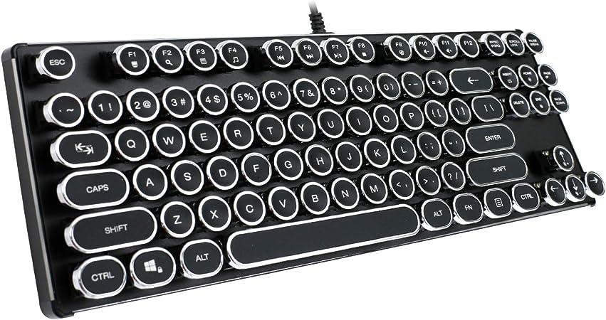 KrBn Typewriter - Teclado USB Retro Vintage Steampunk mecánico 87 Qwerty con retroiluminación LED 2018