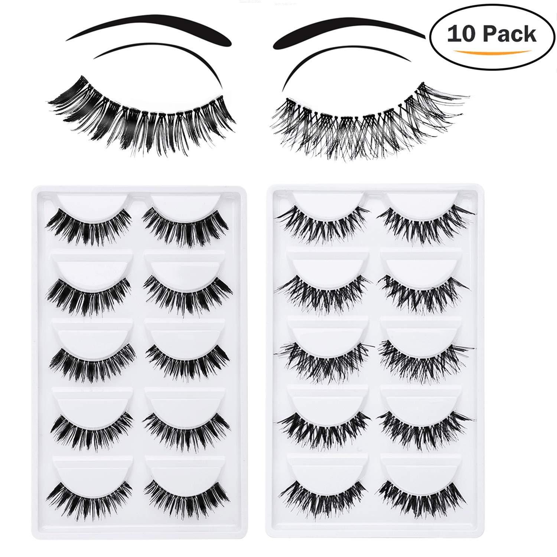 False Eyelashes - 10 Pair Multipack Natural 3D False Eyelashes Natural Look For Makeup Eyelashes Extension. LADES