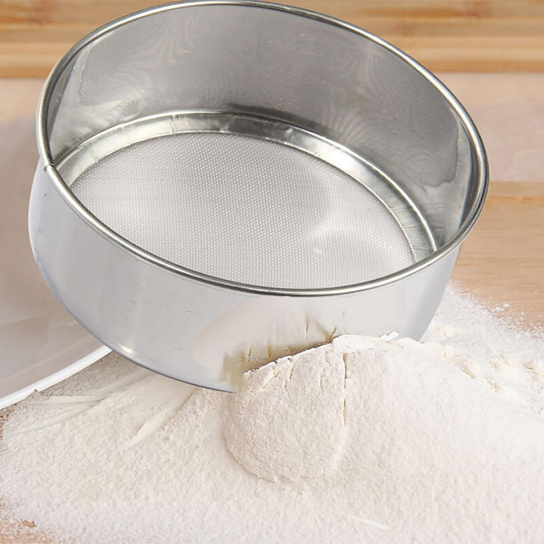 Stainless Steel Sieve Fine Wire Mesh Kitchen Set Upgraded Verison Cup Screen Mesh Powder Flour Colander Sieve Hand Crank Zolimx
