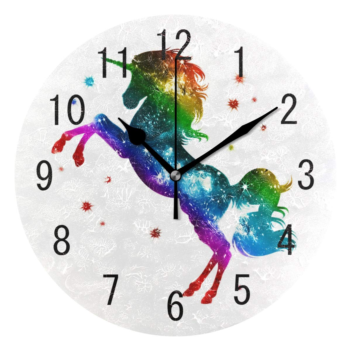 ALAZA Home Decor Rainbow Unicorn Galaxy Nebula Star Round Acrylic Wall Clock Non Ticking Silent Clock Art for Living Room Kitchen Bedroom