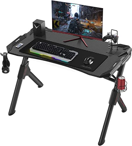 Sedeta Computer Gaming Desk with Large Carbon Fiber Surface, Ergonomic R-Shaped Gamer Table with RGB LED Lights Cup Holder Headphone Hook Free Mouse Pad, E-Sport Racing Home Office Desk, Black