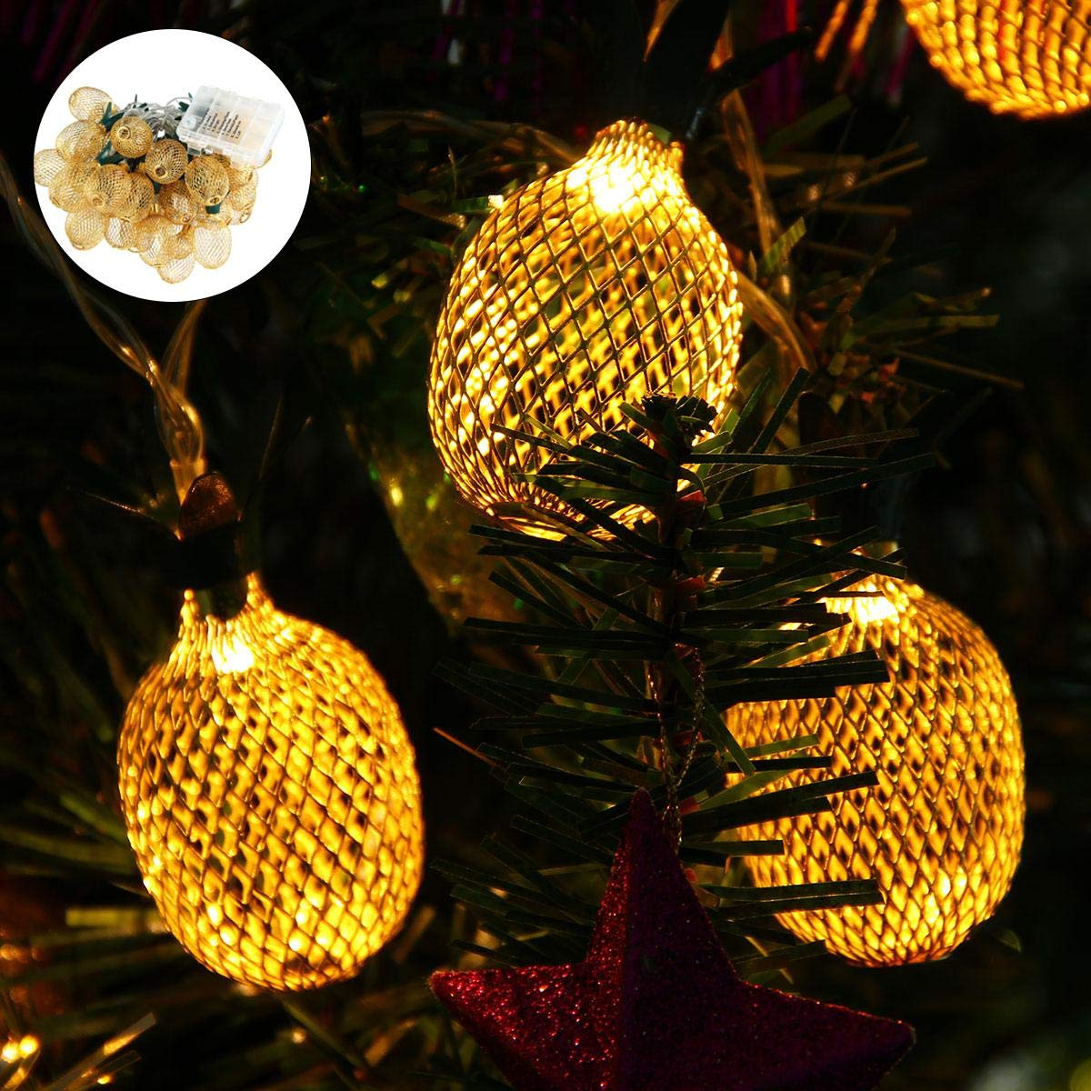 Pineapple String Lights, 200in/5m 40 LED Bulbs WaterproofBattery OperatedLantern String Lights with Battery Box Fairy Lights for Wedding Garden Festival Party Halloween Christmas Indoor & Outdoor by Umiwe (Image #7)