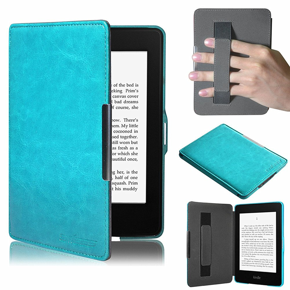 TuoP@Ultra Slim Leather Case / Cover for New Amazon Kindle Paperwhite / Kindle Paperwhite 3G with Elastic Hand Strap, Magnetic Auto Sleep Wake Function, Protect For Your Screen (Sky Blue)