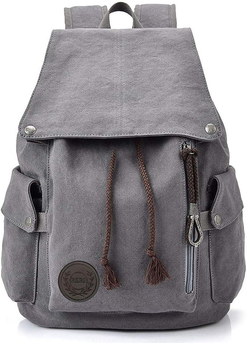 HOME•F Canvas Backpack Vintage Backpack Daypack for Men Women Laptop School Travel Rucksack